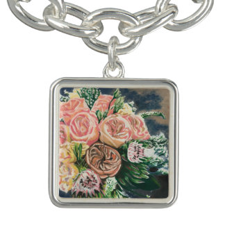 Hand Drawn Floral Bouquet Charm Bracelet