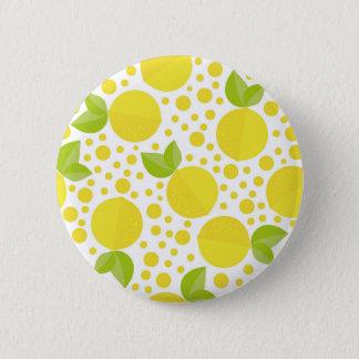Hand drawn floral elements & lemons 6 cm round badge