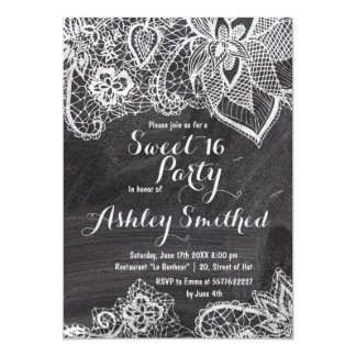 Hand drawn floral lace black chalkboard Sweet 16 Card