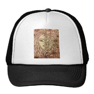 Hand drawn floral skull art cap