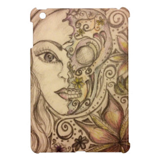 Hand drawn floral skull art case for the iPad mini