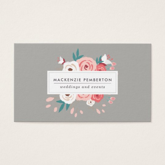 Hand Drawn Floral Social Media Business Card