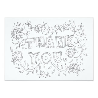 Hand Drawn Floral Thank You Coloring Card 13 Cm X 18 Cm Invitation Card