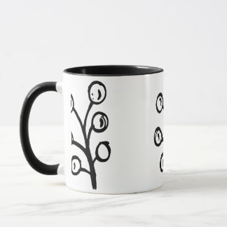 Hand-drawn Floral Two Tone Black and White Mug