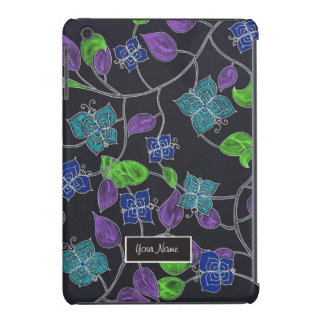 Hand drawn flower butterflies & leaves black iPad mini cases