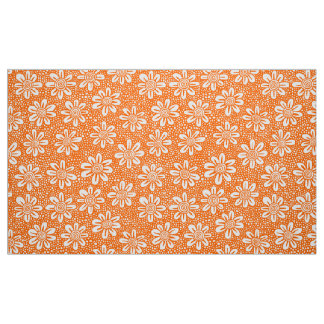 Hand Drawn Flower Pattern 140617 - Orange Fabric
