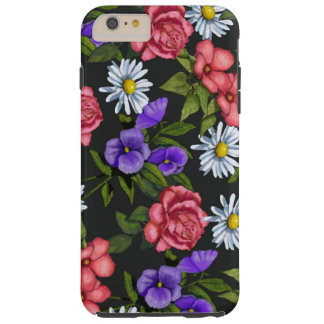 Hand Drawn Flowers on Black Background Tough iPhone 6 Plus Case