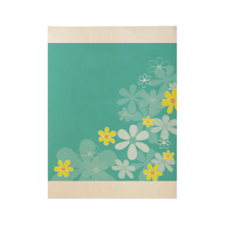 Hand - drawn flowers on Wood Wood Poster