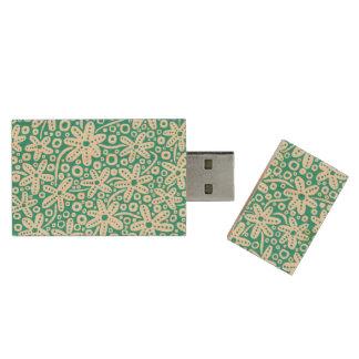 Hand Drawn Flowers - With Aqua Wood USB 2.0 Flash Drive