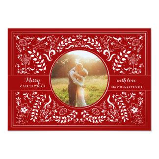Hand Drawn Folk Art Christmas in Burgundy Red Cards