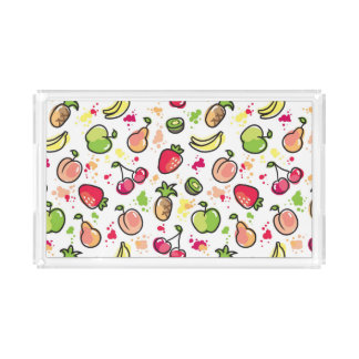 hand drawn fruits pattern acrylic tray