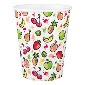 hand drawn fruits pattern paper cup