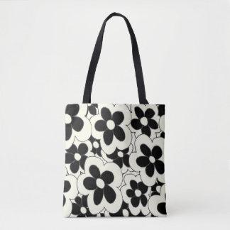 Hand drawn fun flower print black white tote bag