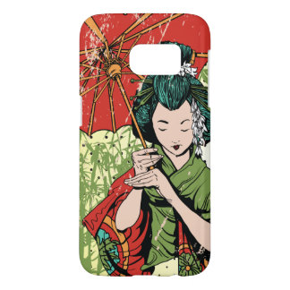 Hand Drawn Geisha Girl With Umbrella