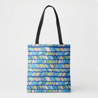 Hand Drawn Geometric Chevron Pattern -Coastal Tote Bag