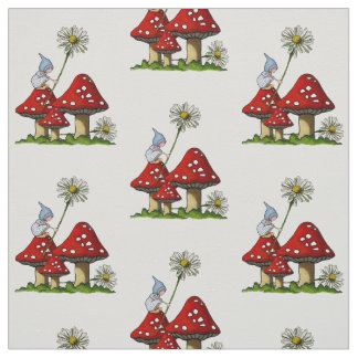 Hand Drawn Gnome Girl on Toadstools, Fantasy Art Fabric