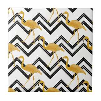 Hand drawn gold flamingo with chevron background ceramic tile