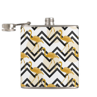 Hand drawn gold flamingo with chevron background hip flask
