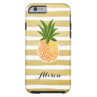 Hand Drawn Gold Stripes  Pineapple Monogram Name Tough iPhone 6 Case