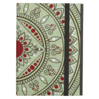 Hand Drawn Green And Red Mandala Flower Design iPad Air Case