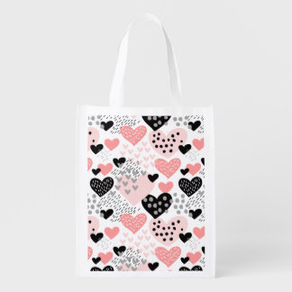 Hand Drawn Hearts and Dots Pattern ID471 Reusable Grocery Bag
