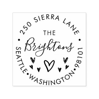 Hand Drawn Hearts Family or Business Address Self-inking Stamp