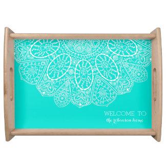 Hand Drawn Henna Circle Design Bright Aqua Blue Serving Tray