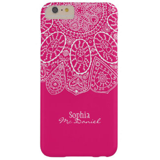 Hand Drawn Henna Circle Design Bright Fuchsia Barely There iPhone 6 Plus Case