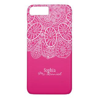 Hand Drawn Henna Circle Design Bright Fuchsia iPhone 7 Plus Case