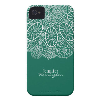 Hand Drawn Henna Circle Design Forest Green iPhone 4 Covers