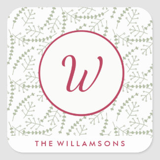 Hand-drawn Holiday Branches Red Monogram Square Sticker