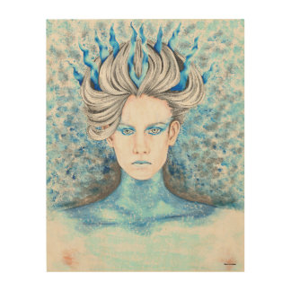 Hand Drawn Ice Queen Wood Panel Print