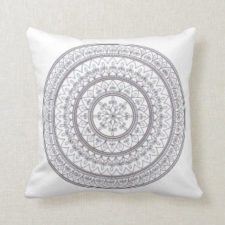 Hand Drawn Intricate Mandala Art For Colouring In Throw Pillow