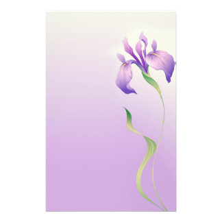 Hand Drawn Iris Flower Stationery