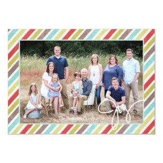 Hand Drawn Joy Photo Card With Colourful Stripes