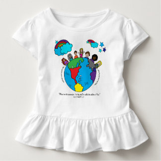 Hand drawn kids around the earth ruffle tee