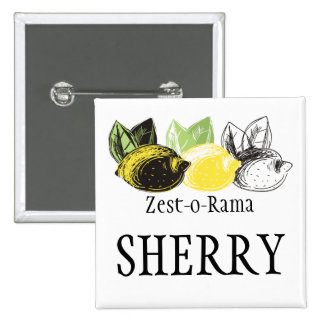 Hand drawn lemon fruit trio chef catering bakery 15 cm square badge