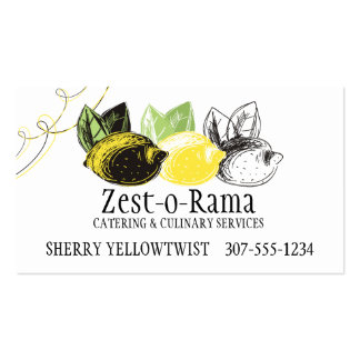 Hand drawn lemon fruit trio chef catering bakery pack of standard business cards