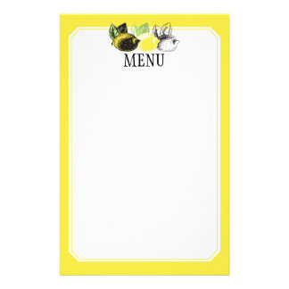 Hand drawn lemon fruit trio chef catering bakery stationery