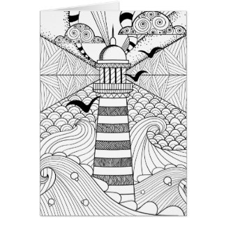 Hand Drawn Lighthouse Doodle Card