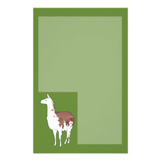 Hand Drawn Llama U-Pick Background Color Personalized Stationery