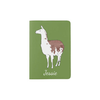 Hand Drawn Llama U-Pick Background Colour Passport Holder