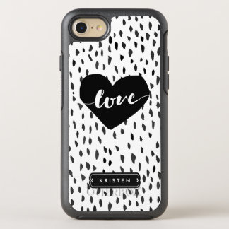 Hand drawn Love Heart Abstract Black White Dots OtterBox Symmetry iPhone 7 Case