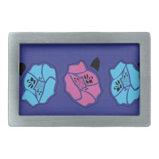 HAND DRAWN LUXURY LACE : ROSES ON BLUE BELT BUCKLES