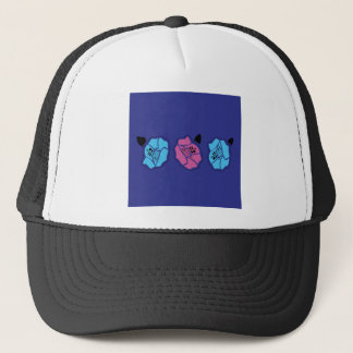 HAND DRAWN LUXURY LACE : ROSES ON BLUE TRUCKER HAT