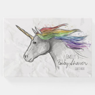 Hand Drawn Magical Unicorn. Baby Shower. Guest Book