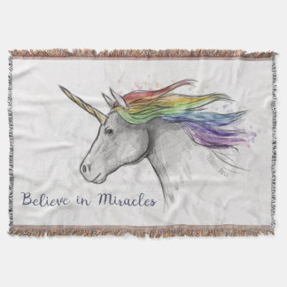 Hand Drawn Magical Unicorn. Believe in Miracles. Throw Blanket