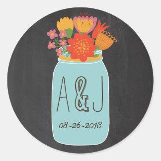 Hand Drawn Mason Jar & Flowers Chalkboard Monogram Round Sticker