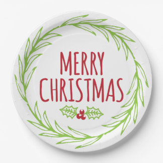 Hand Drawn Merry Christmas Wreath Paper Plates