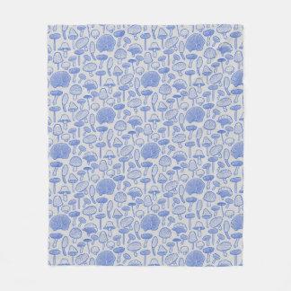 Hand Drawn Mushrooms Collage Fleece Blanket